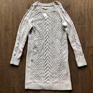 LOFT cable cold shoulder sweater dress